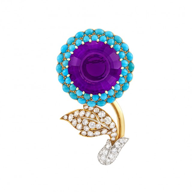 Gold, Platinum, Amethyst, Turquoise and Diamond Clip-Brooch, Cartier