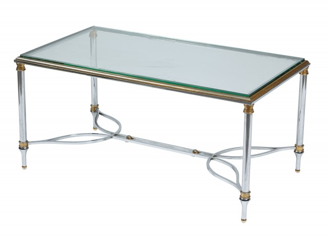 Chrome, Glass and Brass Low Table