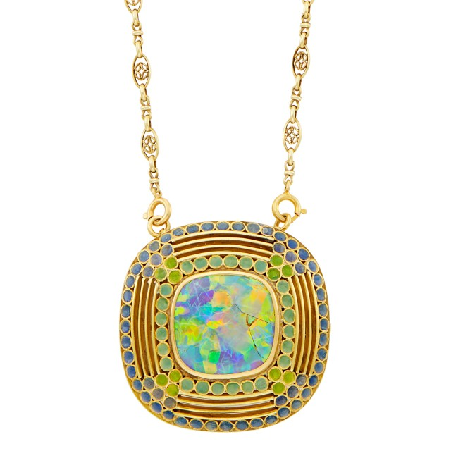 By Louis Comfort Tiffany for Tiffany & Co. Art Nouveau Gold, Opal and Enamel Pendant-Brooch Necklace