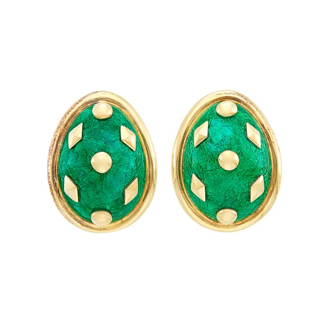 Pair of Gold and Green Paillonné Enamel Earclips, Tiffany & Co., Schlumberger