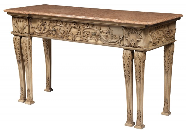 George III Style Carved and Painted Mahogany Marble Top Sideboard