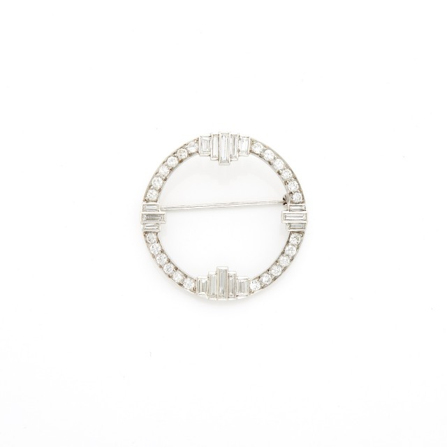 Platinum and Diamond Circle Brooch