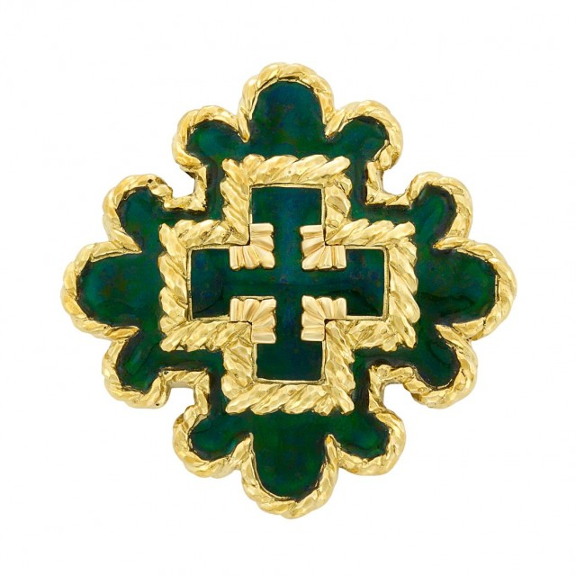Gold and Green Enamel Pendant Clip-Brooch, David Webb