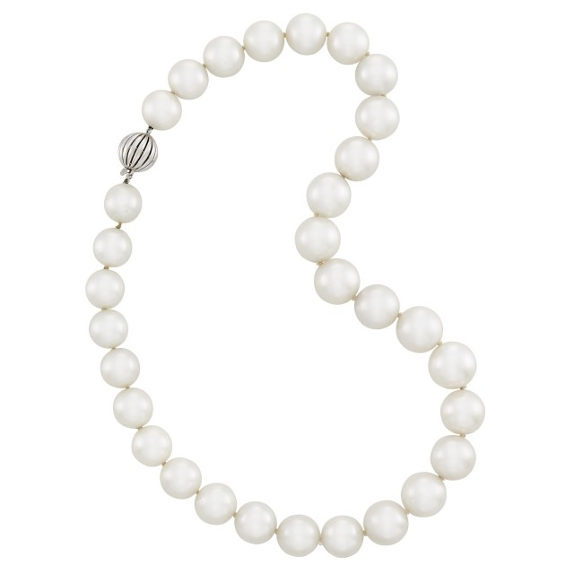 South Sea Cultured Pearl Necklace with White Gold Clasp