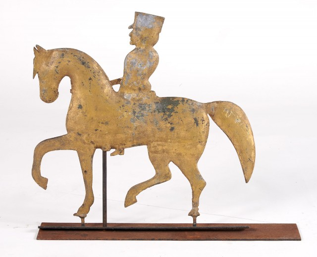 Painted Metal Horse and Rider Weathervane