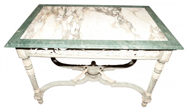 Italian Neoclassical Style Marble Top Carved and Painted Wood Center Table