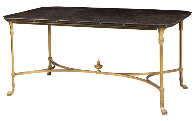 Contemporary Gilt-Bronze Granite Top Center Table