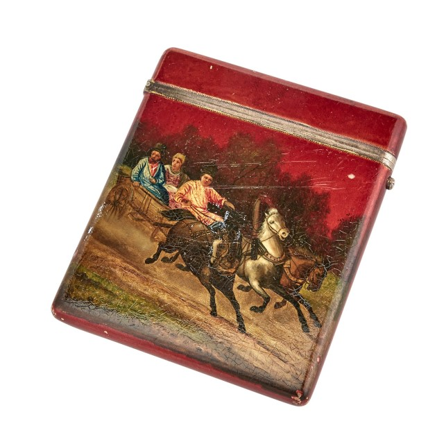 Russian Lacquered Silver-Gilt Cigarette Case