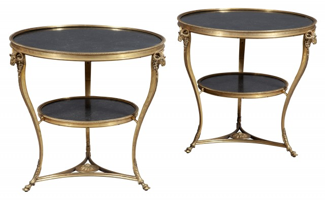 Pair of Louis XVI Style Gilt-Bronze and Marble Gueridons