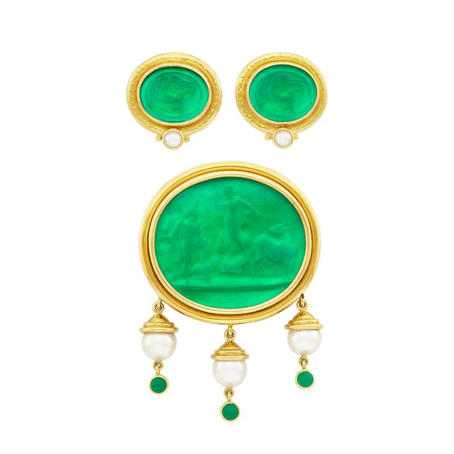 Gold, Green Glass Intaglio, Mother-of-Pearl, Cultured Pearl and Cabochon Green Onyx Clip-Brooch and Pair of Earclips, Elizabeth Locke
