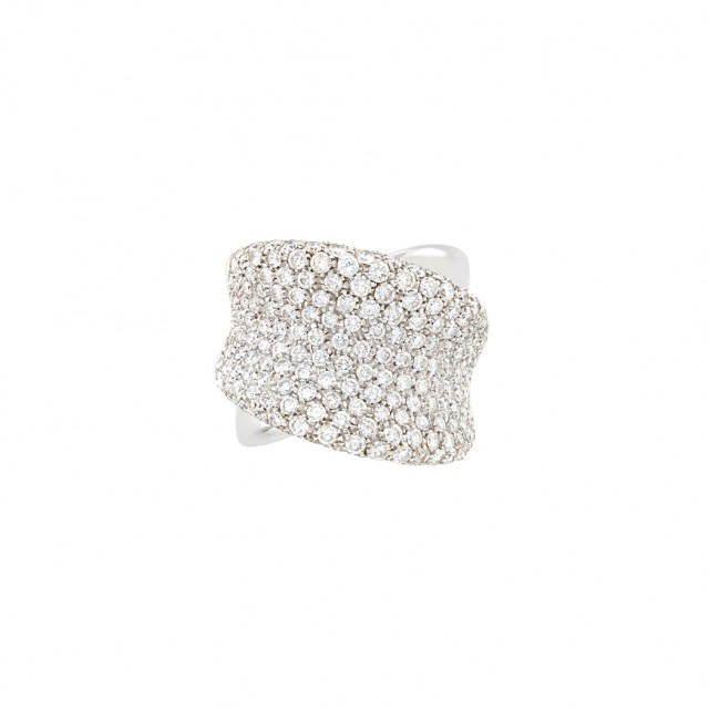 Wide White Gold and Diamond Ring