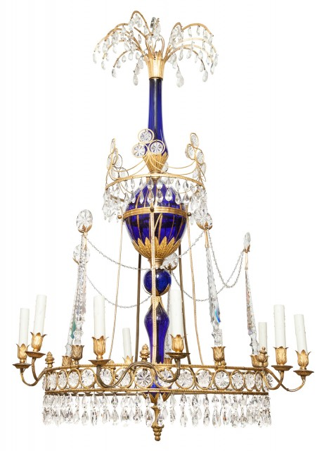 Northern European Neoclassical Gilt-Metal, Blue and Clear Glass Ten-Light Chandelier