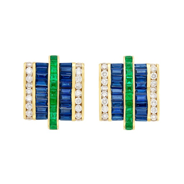 Pair of Gold, Emerald, Sapphire and Diamond Earclips, Charles Krypell