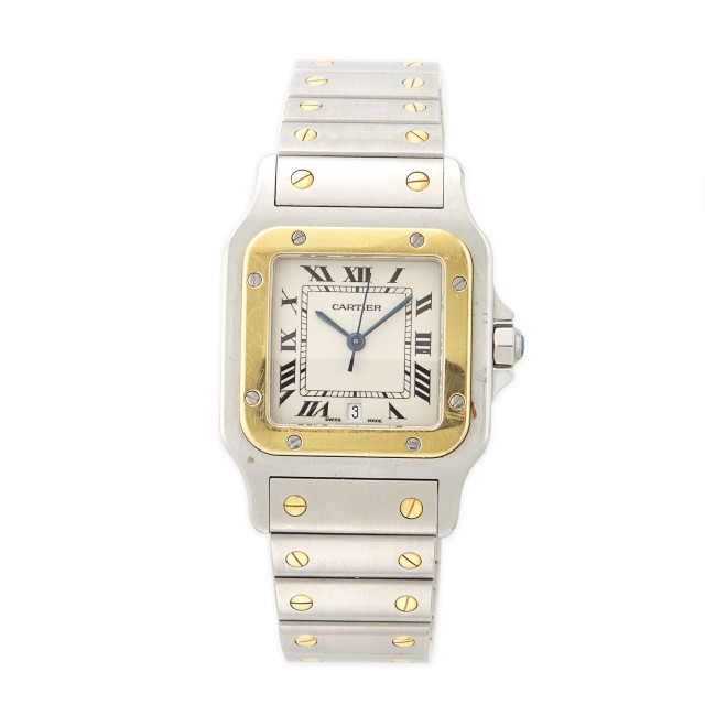 Gentleman's Stainless Steel and Gold 'Santos' Wristwatch, Cartier