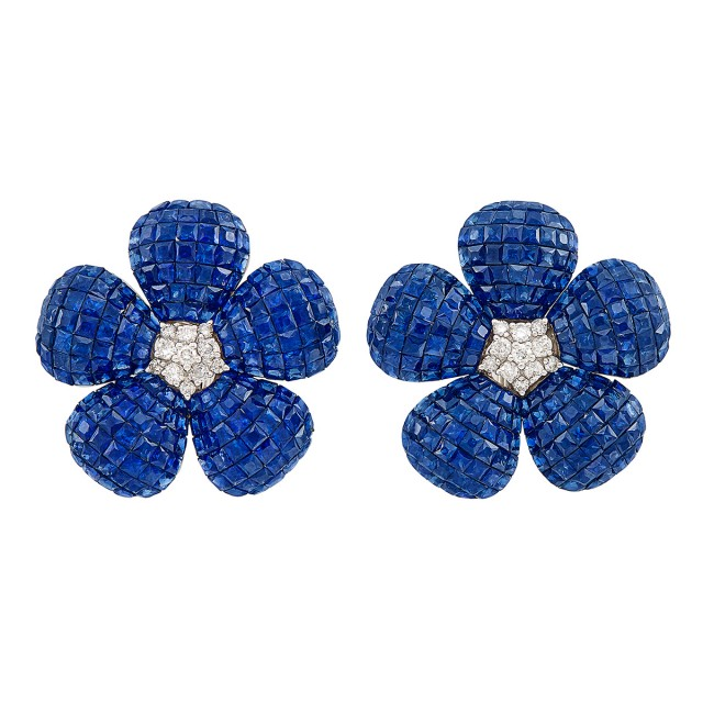 Pair of White Gold, Invisibly-Set Sapphire and Diamond Flower Earclips
