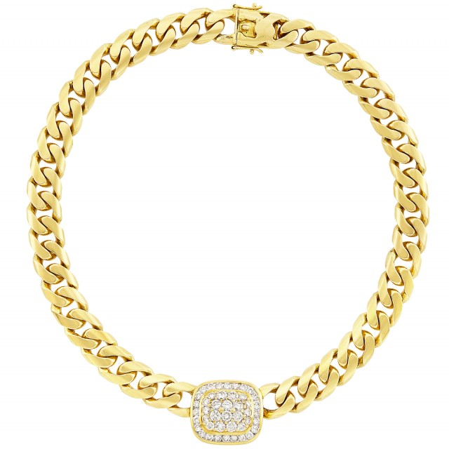 Gold and Diamond Curb Link Chain Necklace