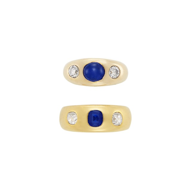 Two Gold, Sapphire and Diamond Gypsy Rings