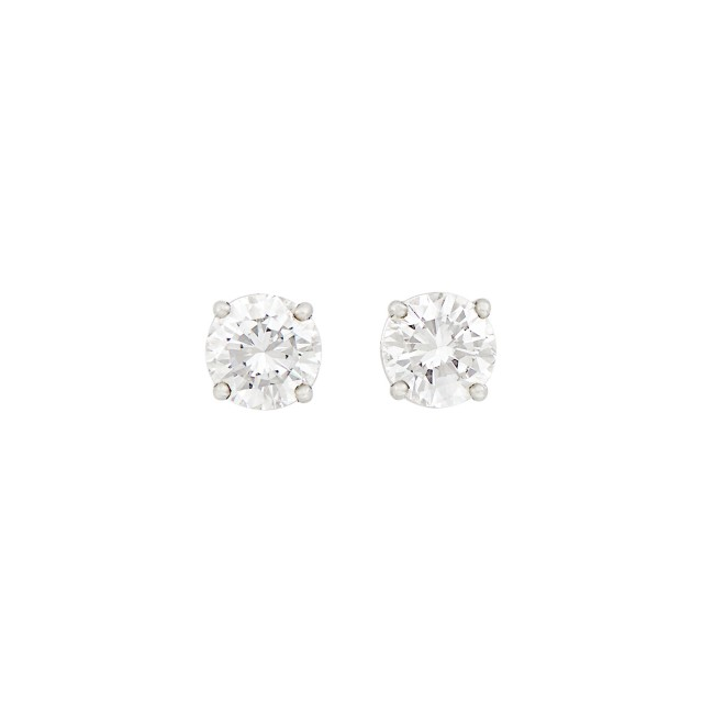 Pair of White Gold and Diamond Stud Earrings
