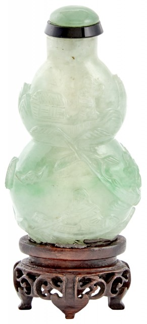 A Good Chinese Jadeite Double Gourd Snuff Bottle