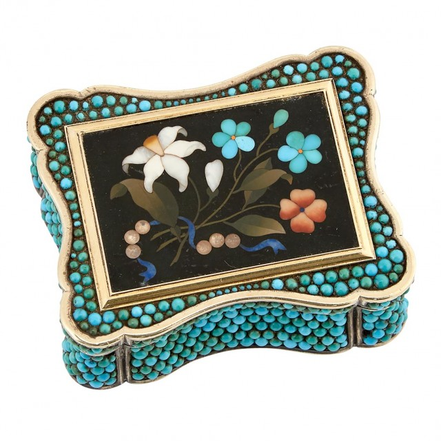 Pietre Dure, Turquoise and Silver Snuff Box