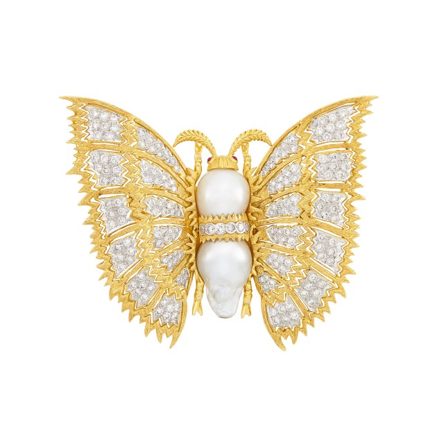 Two-Color Gold, Baroque Cultured Pearl and Diamond Butterfly Clip-Brooch