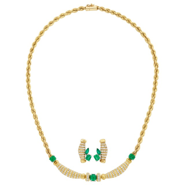 Gold, Emerald and Diamond Necklace and Pair of Earrings