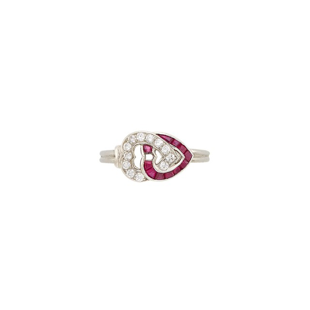 Platinum, Diamond and Ruby Heart Ring, Cartier