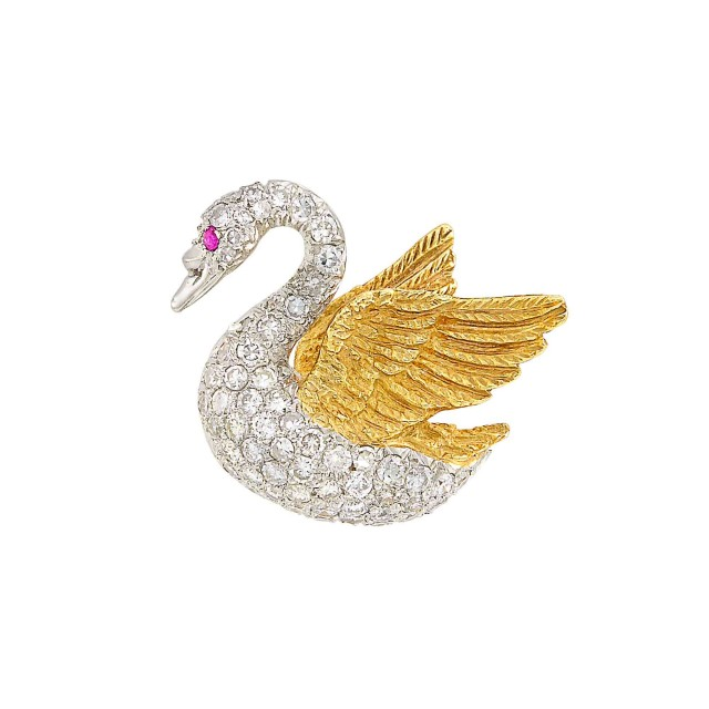 Gold, Platinum, Diamond and Ruby Swan Pin
