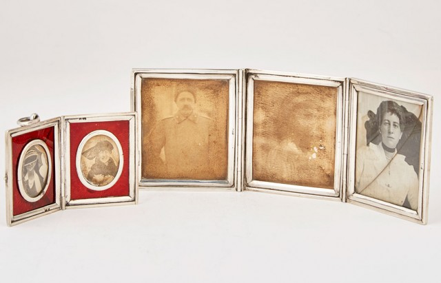 English Silver Triptych Photograph Frame and Silver and Enamel Diptych Photograph Frame