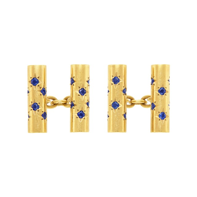 Pair of Gold and Sapphire Cufflinks, Van Cleef & Arpels, France
