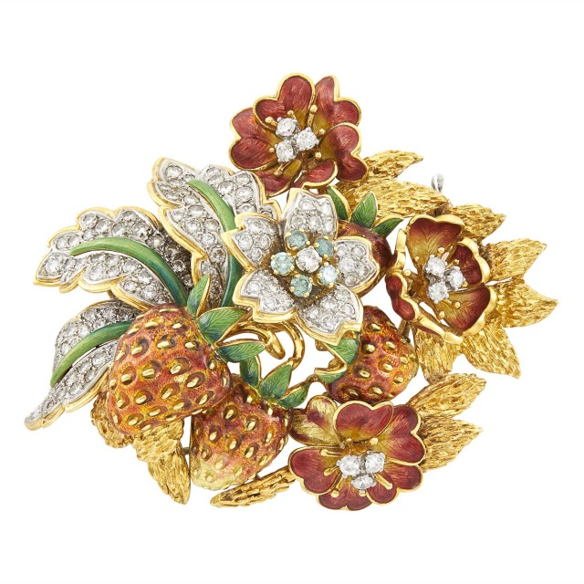 Gold, Enamel, Diamond and Treated Colored Diamond Strawberry Sprig Brooch