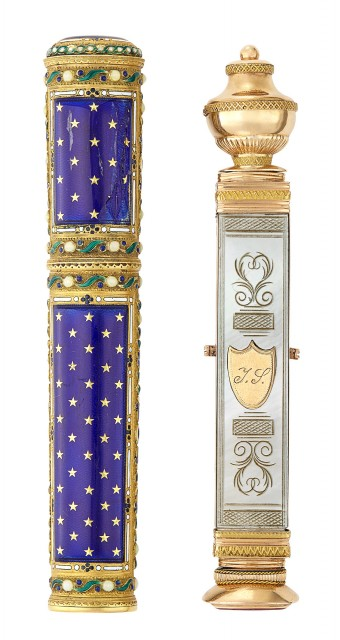 Louis XVI Gold and Enamel Sealing Wax Case; Together with a Continental Two-Color Gold and Mother-of-Pearl Etui and Hand Seal