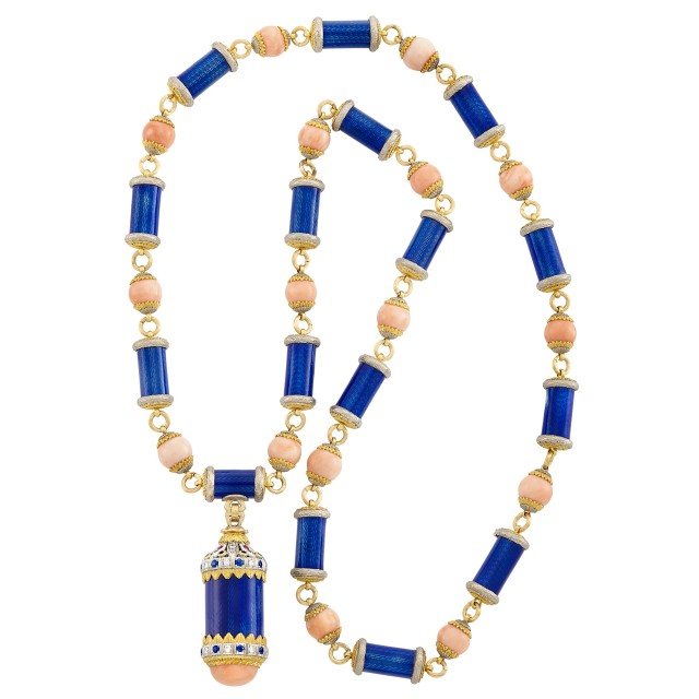 Long Two-Color Gold, Blue Guilloché Enamel, Angel Skin Coral, Sapphire, Ruby and Diamond Pendant-Necklace, Emil Meister for Cazzaniga