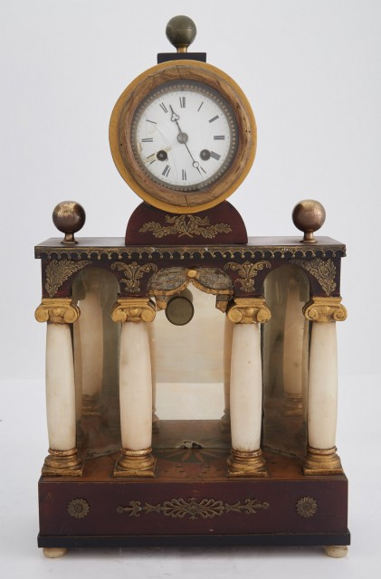 Regency Style Gilt-Metal Mounted Parcel Painted and Mahogany Stained Four Pillar Portico Clock