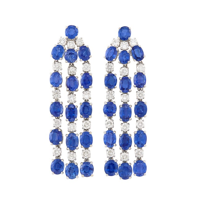 Pair of White Gold, Sapphire and Diamond Fringe Earclips