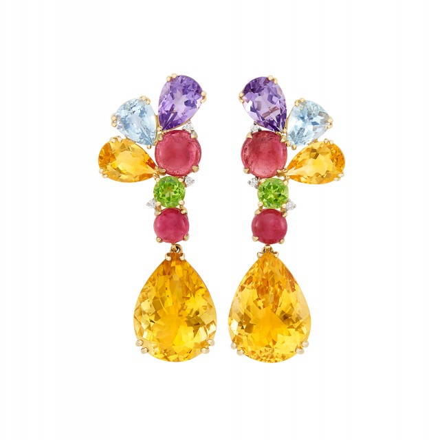 Pair of Gold, Multicolored Colored Stone and Diamond Pendant-Earclips