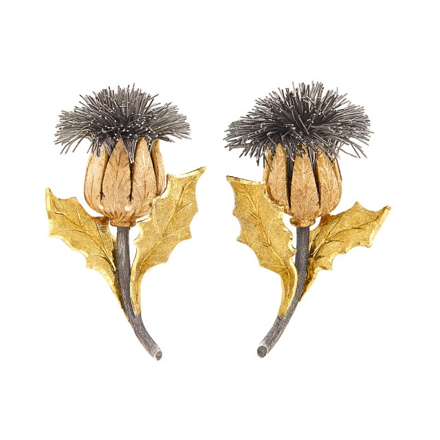 Pair of Two-Color Gold and Silver Thistle Earclips, Mario Buccellati
