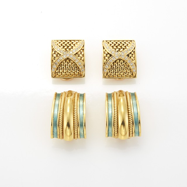 Two Pairs of Gold, Enamel and Diamond Earclips