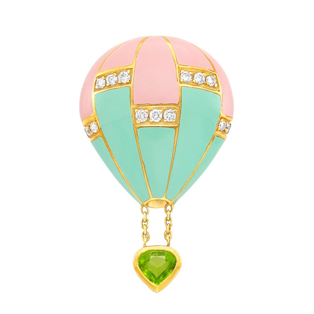 Gold, Pink and Mint Green Enamel, Diamond and Peridot Hot Air Balloon Pin, Fred, France