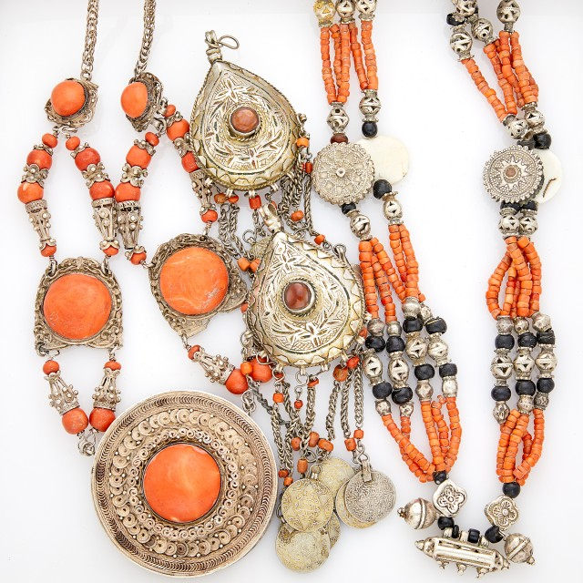 Two Metal and Coral Necklaces and Two Carnelian and Coral Fringe Ornaments