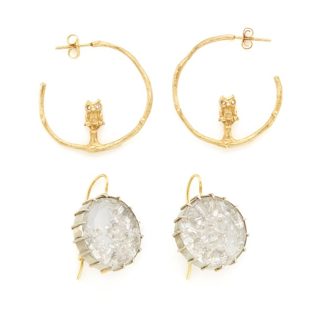 Pair of White Gold, Crystal and Diamond 'Shake' Earrings, Renee Lewis, and Pair of Gold Owl and Branch Hoop Earrings