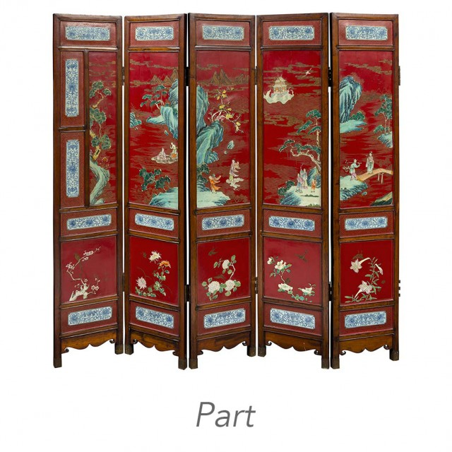 Chinese Porcelain Inlaid Lacquered Hardwood Ten-Panel Folding Screen