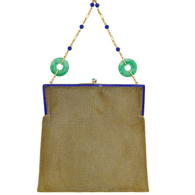 Gold, Platinum, Lapis and Cabochon Emerald Mesh Purse with Gold, Jade and Lapis Bead Carrying Chain