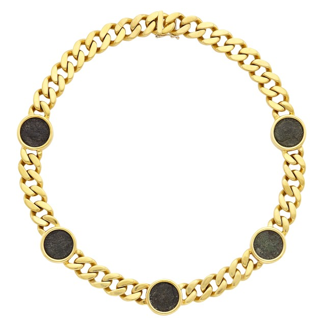 Gold and Bronze Coin Curb Link Necklace