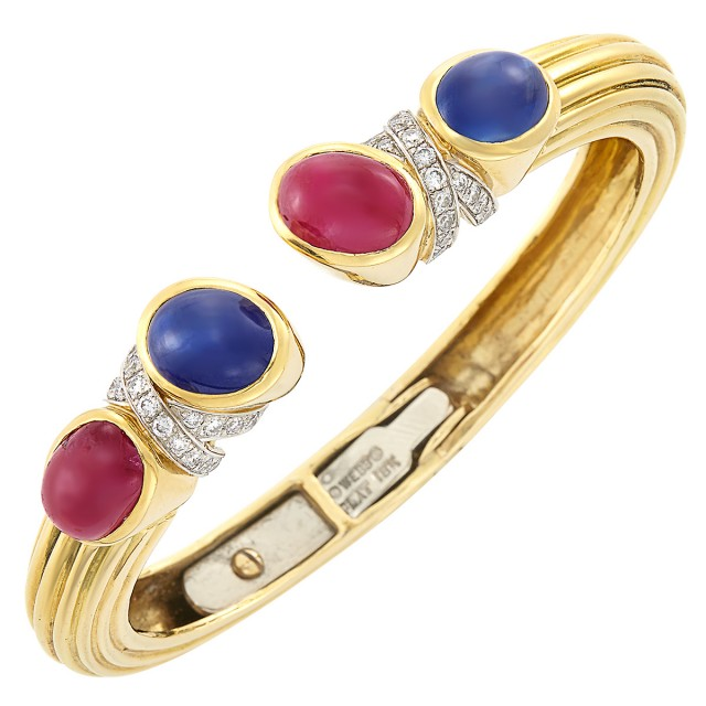 Gold, Platinum, Cabochon Ruby and Sapphire and Diamond Bangle Bracelet, David Webb