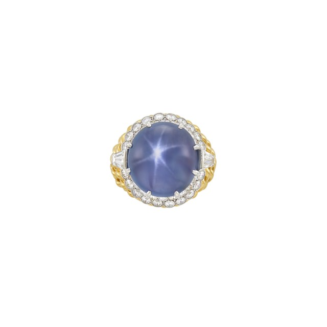 Gold, Platinum, Star Sapphire and Diamond Ring