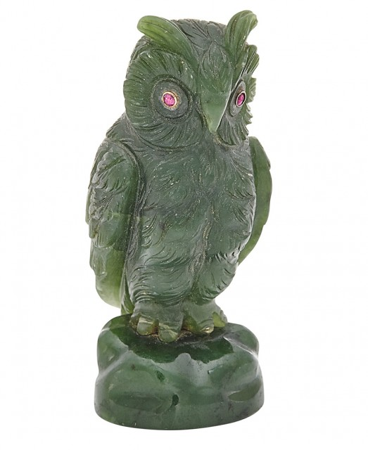 Carved Nephrite Owl-Form Hand Seal