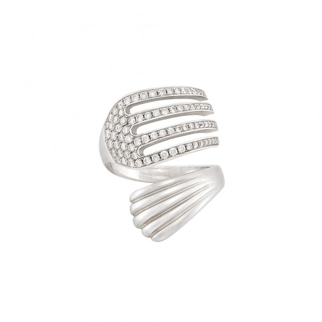 White Gold and Diamond Fork Ring
