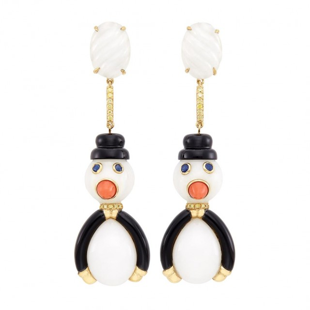 Pair of Gold, White Agate, Black Onyx, Coral, Sapphire and Yellow Diamond Penguin Snowmen Pendant-Earclips