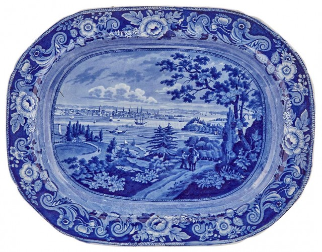 Staffordshire Historical Blue Pottery New York from Weehawken